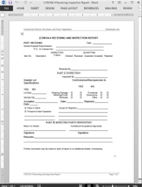 receiving inspection report template
