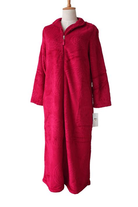 robe de chambre femme ete european style zipper coral velvet