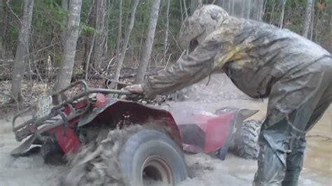 honda fourtrax  deep mud youtube