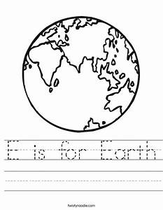 E is for Earth Worksheet - Twisty Noodle