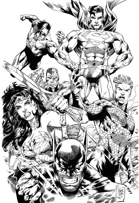 Justice League comic colouring page | Drawing superheroes, Justice league comics, Comic art