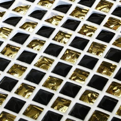 black gold glass wave tiles backsplash mosaic decor