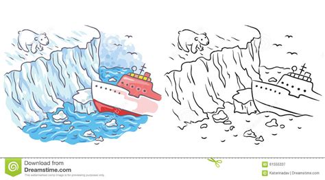 Icebreaker Meets A Polar Bear In The Arctic, Both Colored