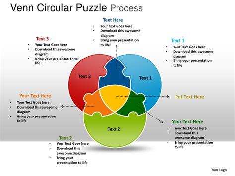 venn circular puzzle process powerpoint templates