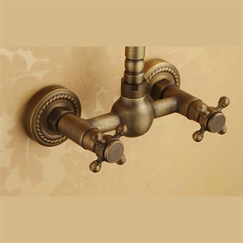affordable antique brass  hole wall mount kitchen faucets