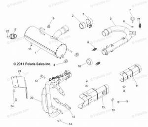 Polaris Side By Side 2013 Oem Parts Diagram For Engine  Exhaust System