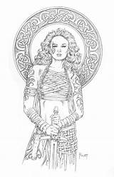 Coloring Mitchfoust Deviantart Female Maren Adult Fighter Warrior Fantasy Dragons Dungeons Barbarian Dragon Rpg Bard Adults Warriors Age Colouring Warhammer sketch template