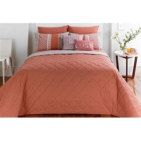 Geometric Bed Throw In Terracotta  Dreams & Drapes