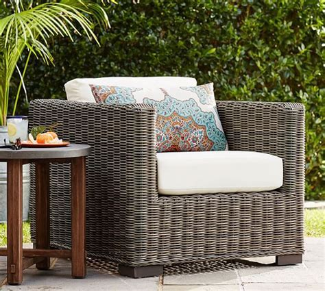Huntington All Weather Wicker Square Arm Occasional Chair