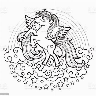 Unicorn Rainbow Coloring Vector Illustration Animal