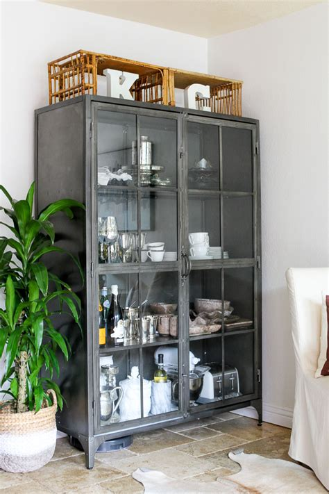 metal china cabinet metal display cabinet