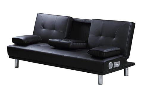 leather bed settee manhattan black 2 3 seater click clack single sofa bed