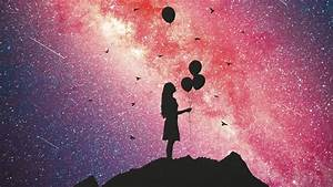 Download, Wallpaper, 2560x1440, Girl, Silhouette, Balloons, Starry, Sky, Widescreen, 16, 9, Hd, Background