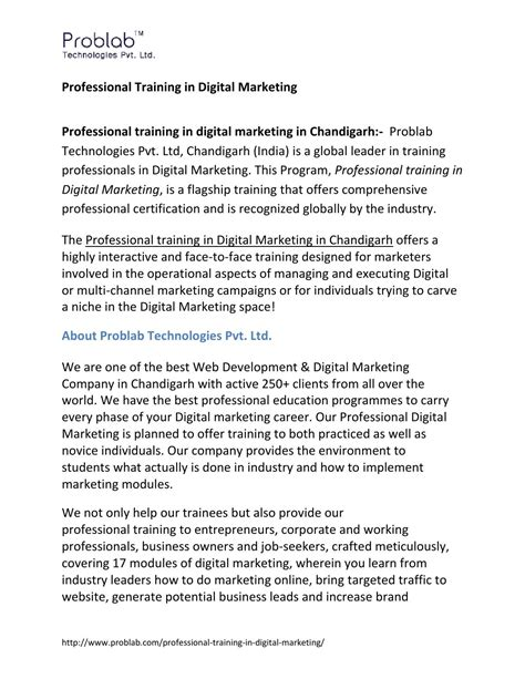 Digital Marketing Courses For Working Professionals by Professional In Digital Marketing By