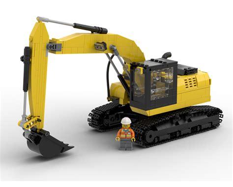 lego moc excavator  yellowlxf rebrickable build  lego