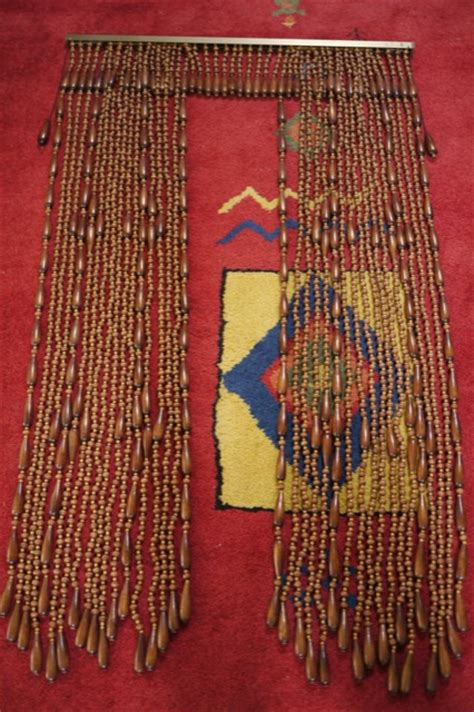 Hippie Bead Curtains For Doors by Vintage 1970s Wooden Wood Beaded Hippie Tiki Adjustable