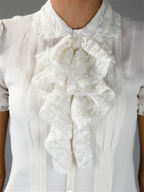 ruffled blouses ralph lace ruffled blouse in white lyst