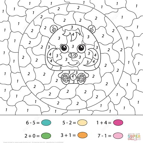 hamster calculation color  number  printable