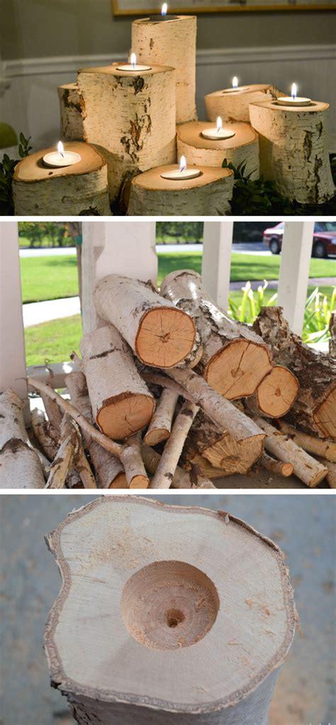 tree stump candle holders  diy fall decorating ideas