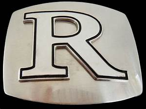 Initial letter r chrome name belt buckle belts buckles for Belt buckles with letters on them