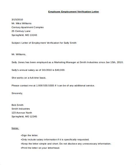 employee verification letter sle employee verification letter 8 free documents in