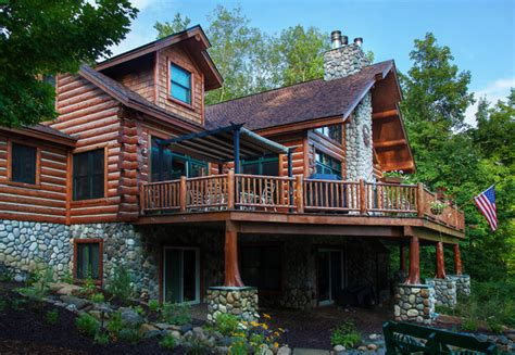 dickinson homes hybrid log chalet style home mancelona mi traditional exterior other