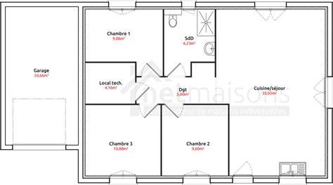 plan de maison de plain pied 3 chambres plan maison plain pied 3 chambres chambre de 2 newsindo co