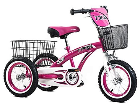 Tauki 12 Inch Kids Tricycle, Front and Rear Baskets, Hand ...