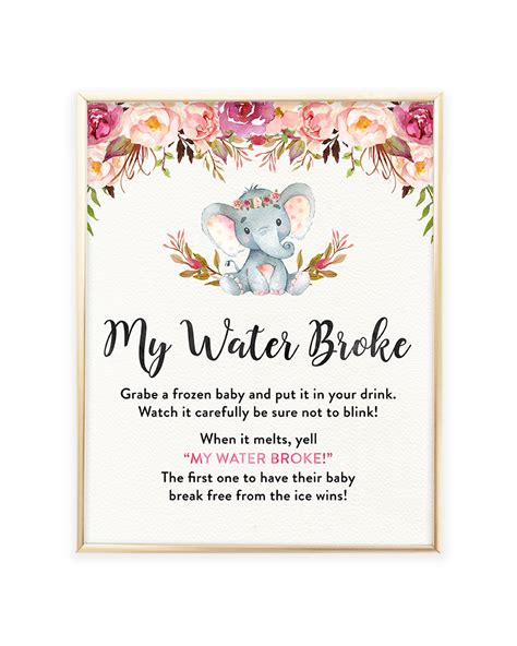 my water baby shower elephant baby shower my water printable sign