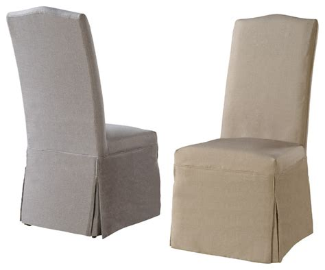set of 2 parsons chairs with beige and gray slipcovers