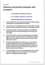template   statutory declaration  completed examples