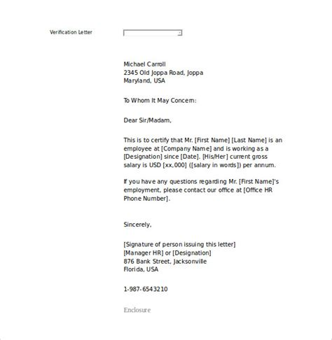 employment verification letter template word 15 letter of employment templates doc pdf free