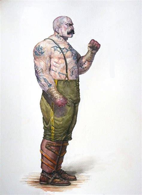oc human pugilistcage fighter watercolor