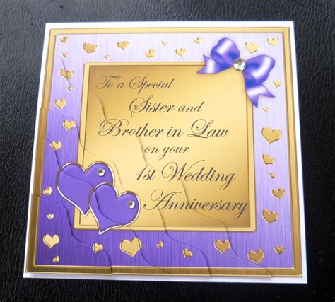 sister brother  law st wedding anniversary card  colours ebay