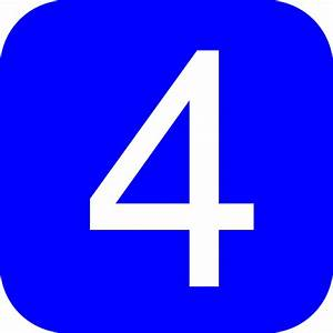 Blue Rounded Square With Number 4 Clip Art At