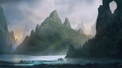 sunset mountains forest artwork drawings rivers