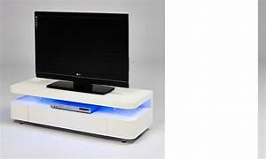 Meuble Tv Blanc Laqué : meuble tv laque blanc avec led ~ Teatrodelosmanantiales.com Idées de Décoration