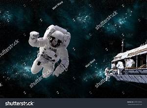 Depiction Astronaut Floating Outer Space While Stock Photo ...