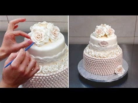 rose pearls cake  cakesstepbystep cake decorating