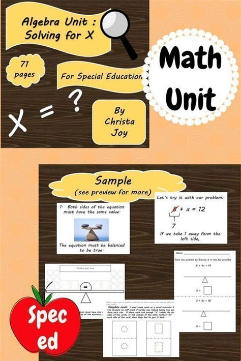 Algebra Unit for Special Education. There is a lot of ...
