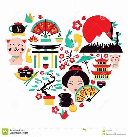 Japan Symbols Heart Vector Icons Illustration Travel