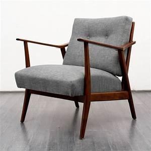 Fauteuil Bois Et Tissu : fauteuil vintage en bois et tissu gris chin 1950 ~ Melissatoandfro.com Idées de Décoration