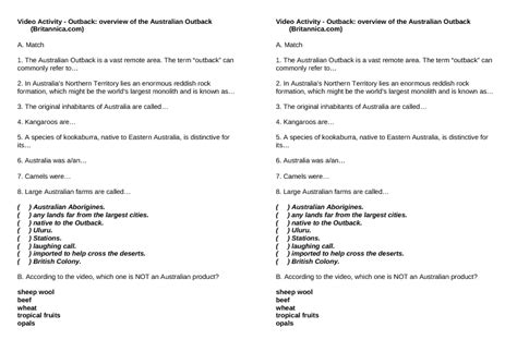 worksheet outback overview of the australian outback