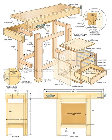 compact workbench plans woodarchivist