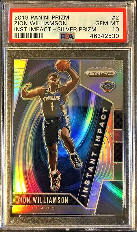 After 182 bids on the auction website, the card sold for a final price of $99,800. Amazon.com: ZION WILLIAMSON GEM MINT PSA 10 Rookie Card - 2019 20 Panini Prizm Basketball Rookie ...
