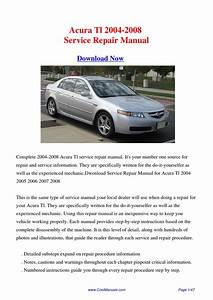 2004-2008 Acura Tl Factory Repair Manual By Hong Ling