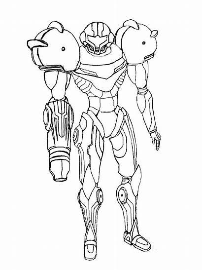 Samus Coloring Sketch Deviantart Metroid Pages Drawings