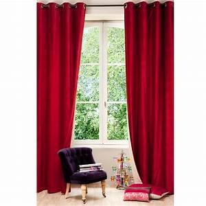 Rideau A Oeillet : rideau illets double face en velours lin rouge et beige ~ Dallasstarsshop.com Idées de Décoration