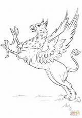 Griffin Coloring Pages Mythical Draw Drawing Creatures Gryphon Printable Hippogriff Step Mythology Greek Creature Animals Wings Drawings Books Griffins Animal sketch template