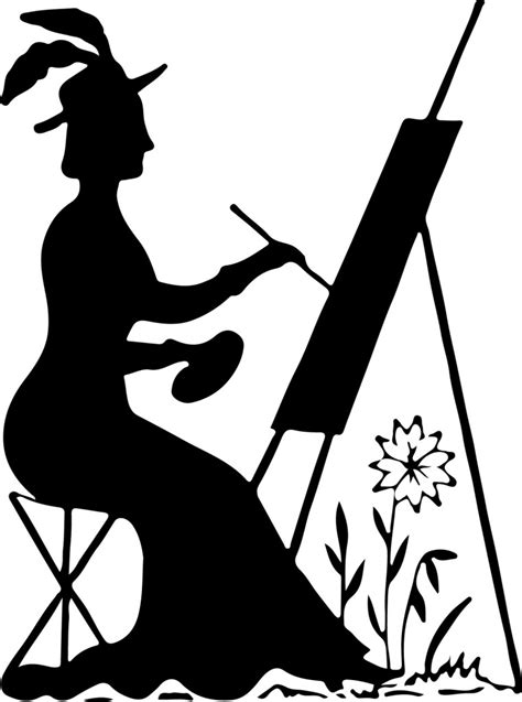 silhouette stock image lady painting  graphics fairy